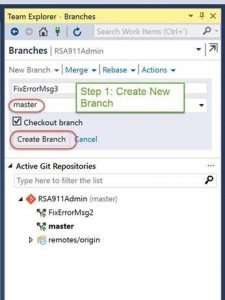 step 1: create a branch