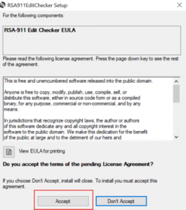 Accept the EULA dialog box